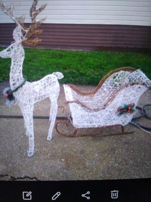 Huge lighted Xmas sleigh n reindeer for Sale in Oak Lawn, IL