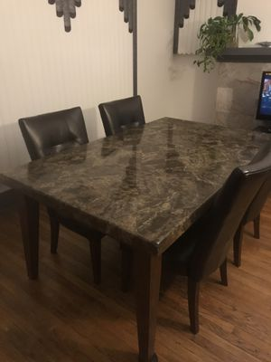 Real marble dining room table (6) Chairs for Sale in Detroit, MI