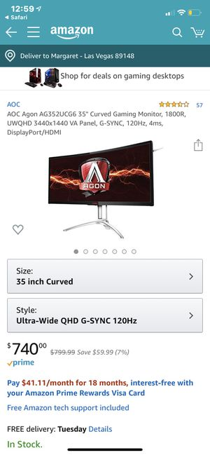 """AOC AGON GAMING MONITOR 35"""" curved for Sale in Las Vegas, NV"""