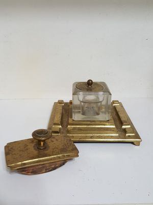 Antique Gold Tone Metal and Heavy Glass Ink well and Stamp Press Desk Set for Sale in Fontana, CA