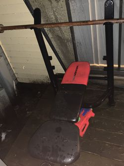 Weight Bench, Bar., (Small Bar), And Weights That Fit Small Bar for Sale in Federal Way,  WA