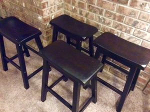 Set of 4 handsome Dark Wood Counter Stools for Sale in Portland, OR