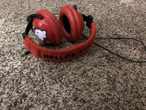 fluffy hello kitty headphones (jack) $10 EUC for Sale in Riverside, CA