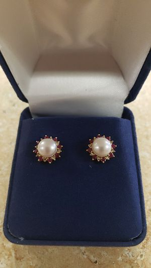 14k Yellow Gold Pearl Ruby and Diamond Earrings for Sale in Newington, CT