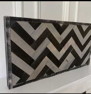"Herringbone wood wall art handmade 24.25""W x 13.25""H x 1.5""D for Sale in Costa Mesa, CA"