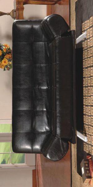 RAMO BLACK PVC CLIK-CLAK FUTON SOFA W / ADJUSTABLE ARMS for Sale in Brooklyn Park, MD