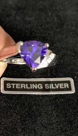 Sterling Silver Amethyst CZ Ring for Sale in Quincy, IL