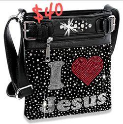 """I ❤ Jesus"" Black Bling Crossbody/ Purse for Sale in Florissant,  MO"