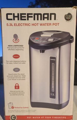Chefman 5.3 Liter Instant Electric Auto Dispense Hot Water Pot, Stainless Steel for Sale in Bakersfield, CA