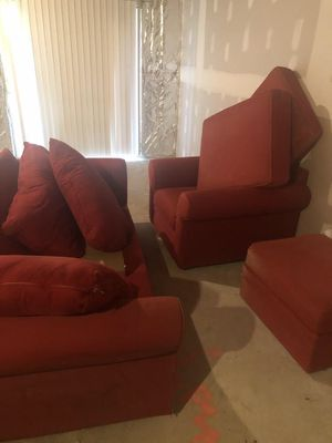 Red Sofa, Chair and Ottoman for Sale in Frederick, MD