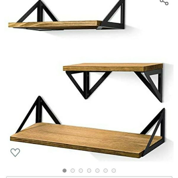 BAYKA Floating Shelves Wall Mounted, Rustic Wood Wall Shelves Set of 3 for Bedroom, Bathroom, Living Room, Kitchen (Toffee, Pine)