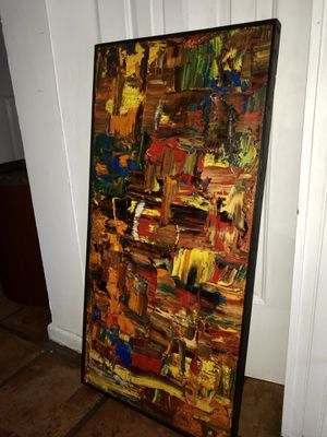 Vintage pallet knife oil on canvas 1960s super bright colors for Sale in West Palm Beach, FL