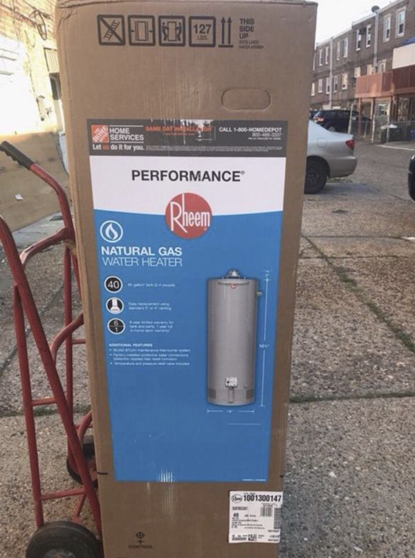 Brand new Rheem tall 40 gallon gas water heater tank boiler Brand new in box never opened. Factory 6 year warranty. Can be delivered for a fee Can be