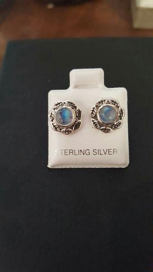 92.5 Sterling Silver Rainbow Moonstone Leaf Stud Earrings. for Sale in Providence, RI
