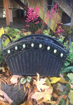 Vintage wicker rattan magazine rack basket storage for Sale in Des Moines, WA