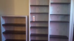 oak wood stained bookshelves tall one 6 ft by 47 in short one 4 ft Buy 32in shelves are adjustable asking $220 for both for Sale in Stockton, CA