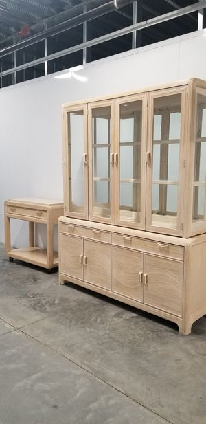 American Drew pickled wood China Cabinet and bar cart for Sale in Pooler, GA