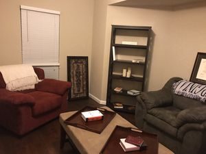 2 Over Stuffed Arm Chairs, Matching Coffee Table and 2 Bookcases for Sale in Tampa, FL
