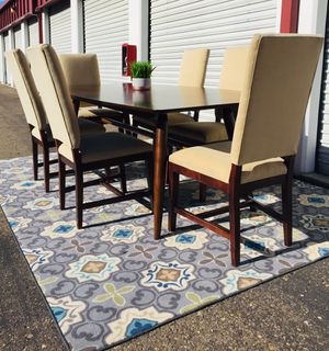 Pier 1 imports mid century dining table & Room & Board upholstered chairs for Sale in San Diego, CA