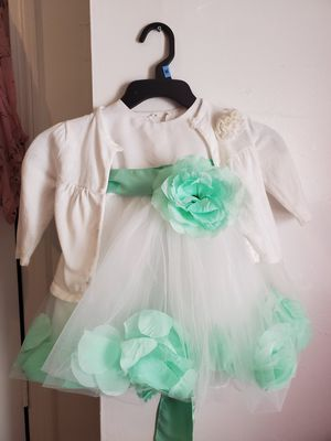 Easter dress flower girl 12-18 months with sweater for Sale in Brockton, MA