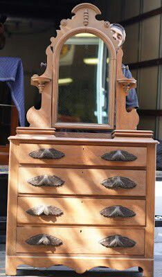 """#33662 Antique Victorian Style 17.5"""" x 73.5"""" x 38.5"""" Wide 4-Drawer Dresser with Mirror and Jewelry Cabinets - $225 for Sale in Oakland, CA"""
