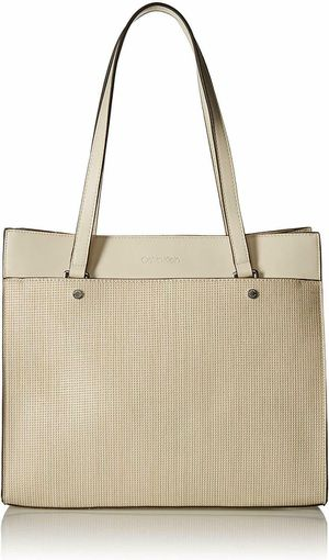 Calvin Klein Leo Smooth PU Novelty East/West Boxy Large Handbag Tote (Off White) for Sale in Norfolk, VA