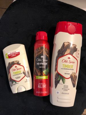 Old Spice Timber Set (no box) body wash,deodorant,body spray for Sale in Los Angeles, CA