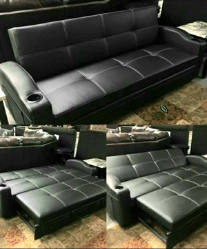 🍃$39 Down #*# Best PRiCE 🍃 Easton Futon Sofa Bed with Cup Holders 56 for Sale in Houston, TX