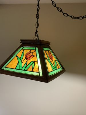 Tiffany style hanging lamp in wood frame for Sale in Saginaw, MI