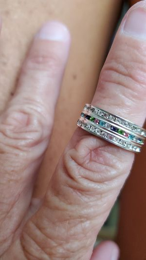 Beautiful silver ring with multiple colors stones for Sale in Pickerington, OH