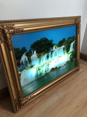 Relaxing waterfall picture with plug in lights and sound for Sale in Roseville, MN