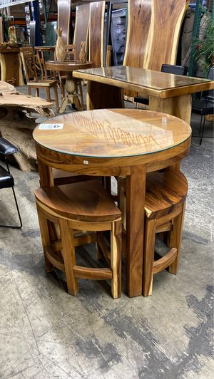 Solid Wood Table & 4 Stools for Sale in Vancouver, WA