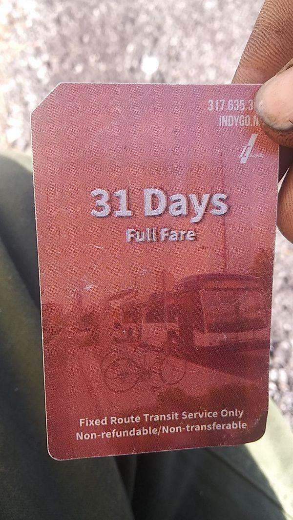 Indigo 31 day bus pass unstamped