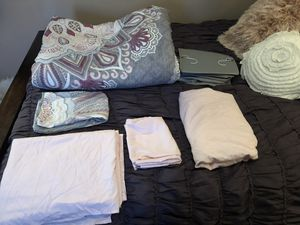 Dorm bedding and closet organizer, Alex and Zoe. Very lightly used. Dry cleaned. Comes with comforter, closet organizer, sham, and sheet set, for Sale in Roanoke, TX