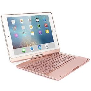 iPad Pro 9.7 Wireless Keyboard, 360 Degree Rotation Bluetooth Keyboard Case Aluminum shell Smart Folio Case with 7 Colors Back-lit Auto Sleep/Wake Fun for Sale in Rancho Cucamonga, CA