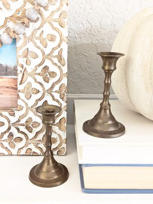 Two Mini Vintage Brass Candle Holders for Sale in San Antonio, TX