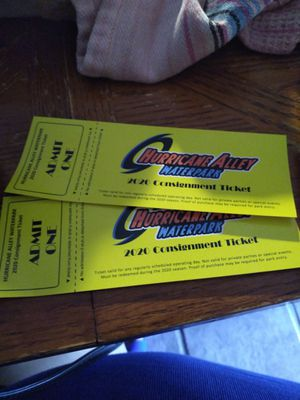 2 tickets to Hurricane Alley water park in Corpus Christi for Sale in Victoria, TX