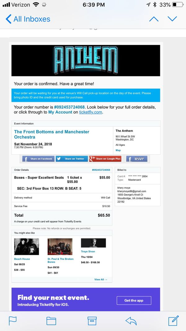 """1 """"super excellent seat"""" box seat for The Front Bottoms concert Saturday November 24th"""