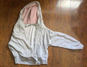 light grey w pink fur hoodie crop zip up jacket for Sale in La Habra Heights, CA