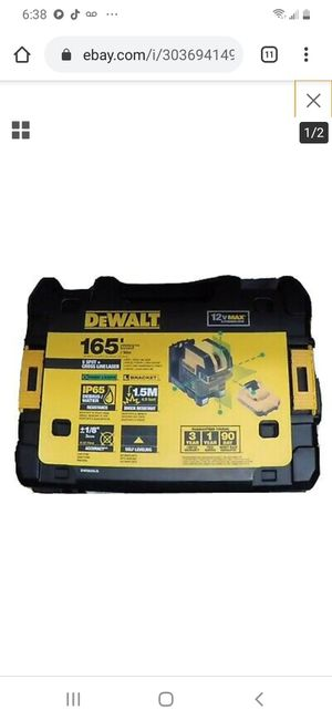 DEWALT DW0825LG 12V MAX CORDLESS SELF LEVELING CROSS LINE LASER WITH BATTERY AND CHARGER WITH ACCESSORIES NEW NUEVO GREEN LIGHT LUZ VERDE 165FT 🤘👌 for Sale in Torrance, CA
