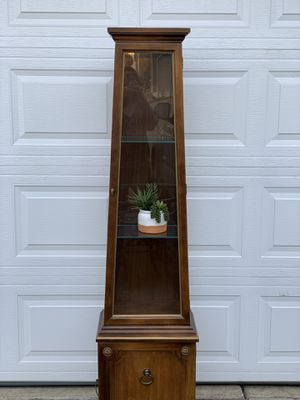 Tall Lighted Curio with glass shelves and storage for Sale in OR, US