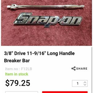 """Snap-on Tools 12"""" 3/8"""" Breaker Bar for Sale in Romeoville, IL"""