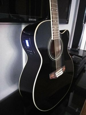 Requinto New Black 12 String Acoustic Electric Guitar Combo with Gig Bag & Accessories Guitarra Electrica Acústica Docerola 12 Cuerdas for Sale in South Gate, CA