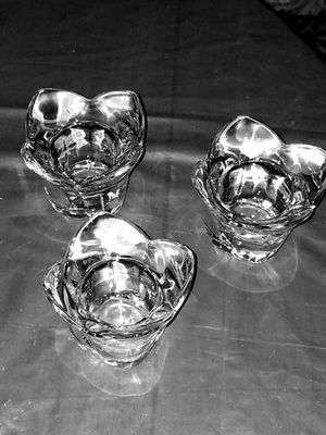 Set of 3 heavy tulip shaped crystal candle holders for Sale in Oklahoma City, OK