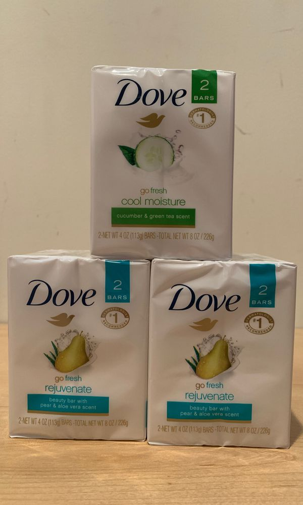 6 bars Dove soap: 4 pear & aloe Vera + 2 cucumber & green tea