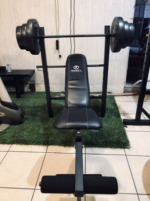 Adjustable Bench Press, Barbell, Leg Extension, 100lbs of Weight for Sale in Los Angeles, CA
