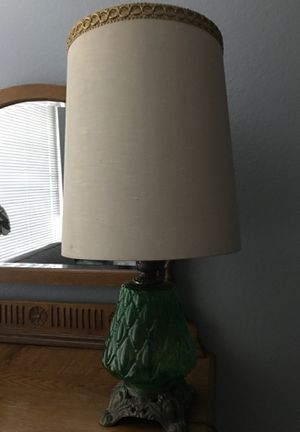 Vintage Emerald Green Glass Two Light Lamp for Sale in Orange, CA