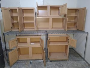 Birch wood kitchen cabinets set of 8 for Sale in Houston, TX