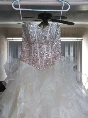Fiesta Champagne & Tan Prom Quinceanera Ball Pageant Gown Dress Sz Small for Sale in Detroit, MI
