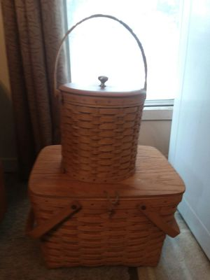 Longaberger picnic basket and ice bucket for Sale in Lock Haven, PA